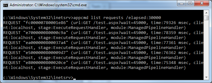 Hung requests shown by AppCmd List Requests command